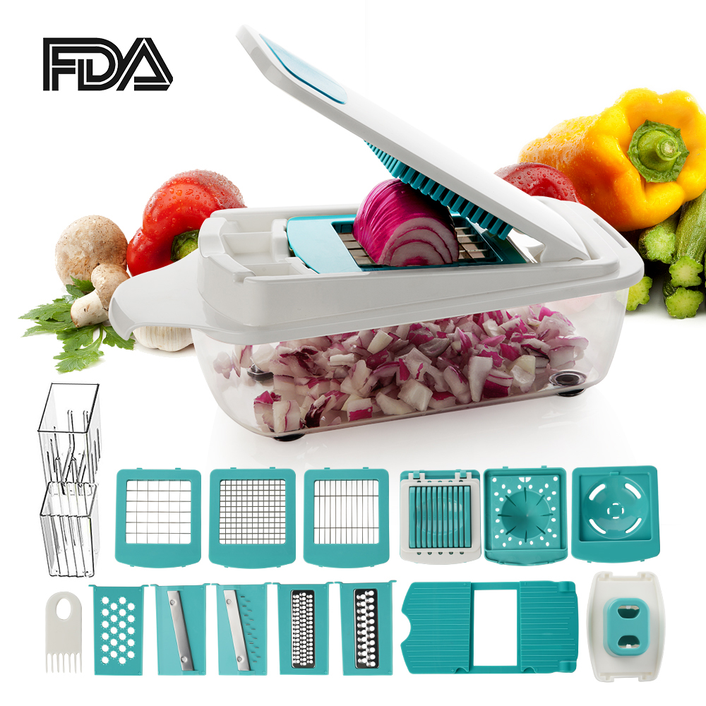 TTLIFE coupe-légumes Dicer trancheuse râpe manuelle avec 11 lames interchangeables multi-fonctionnel avec stockage Gadgets de cuisine