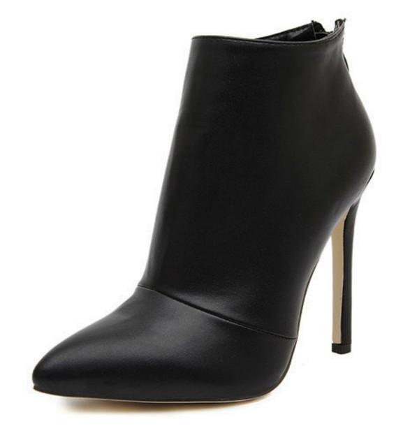 Botas mujer zapatos mujer Outono Inverno Mulheres Concise Plain Faux Couro/Camurça Ankle Boots Mulher Bootie Curto Vestido de Casamento sapato