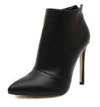 botas mujer zapatos mujer Autumn Winter Women Concise Plain Faux Leather/Suede Ankle Boots Woman Short Bootie Dress Wedding Shoe
