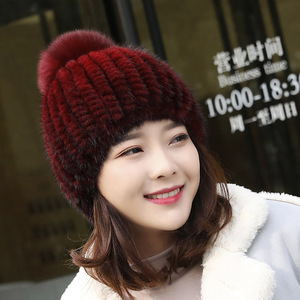 Image 4 - מכירה לוהטת אמיתי מינק פרווה כובע נשים החורף סרוגים מינק פרווה בימס כובע עם שועל פרווה פום Poms בעבודת יד חדש עבה נקבת כובע פרווה כובע