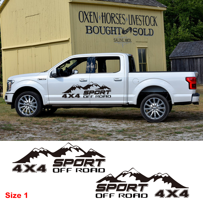 Sport Pick Up Truck Decor Vinyl Decal <font><b>Off</b></font> <font><b>Road</b></font> <font><b>4X4</b></font> Mountain Graphics <font><b>Sticker</b></font> Car Styling Auto Body Door Side Customized <font><b>Sticker</b></font> image