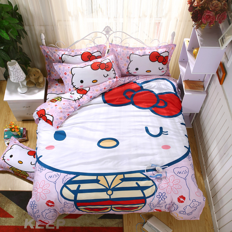 Home Textile Cartoon Children Kids Bedding Set Red Minions Hello Kitty Mickey Mouse Bed Linen Duvet Cover Bed Sheet Queen Sizes