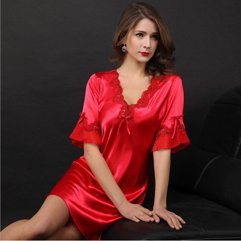 ef9a8de4a 2017 Nova chegada das mulheres camisolas de seda sexy sono vestido moda  wellmade softy material exclusivo para senhoras