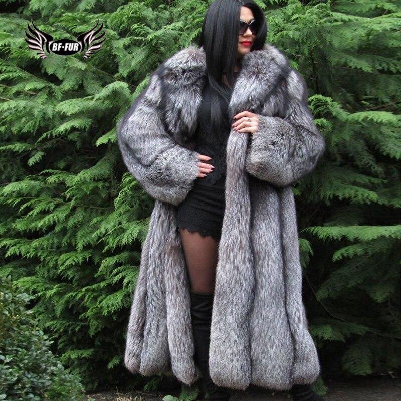 BFFUR Véritable Fourrure De Manteau Plus La Taille Vêtements D'hiver Manteau Femmes Tops De Luxe Veste En Cuir Femelle Réel Naturel Silver Fox Fourrure parka