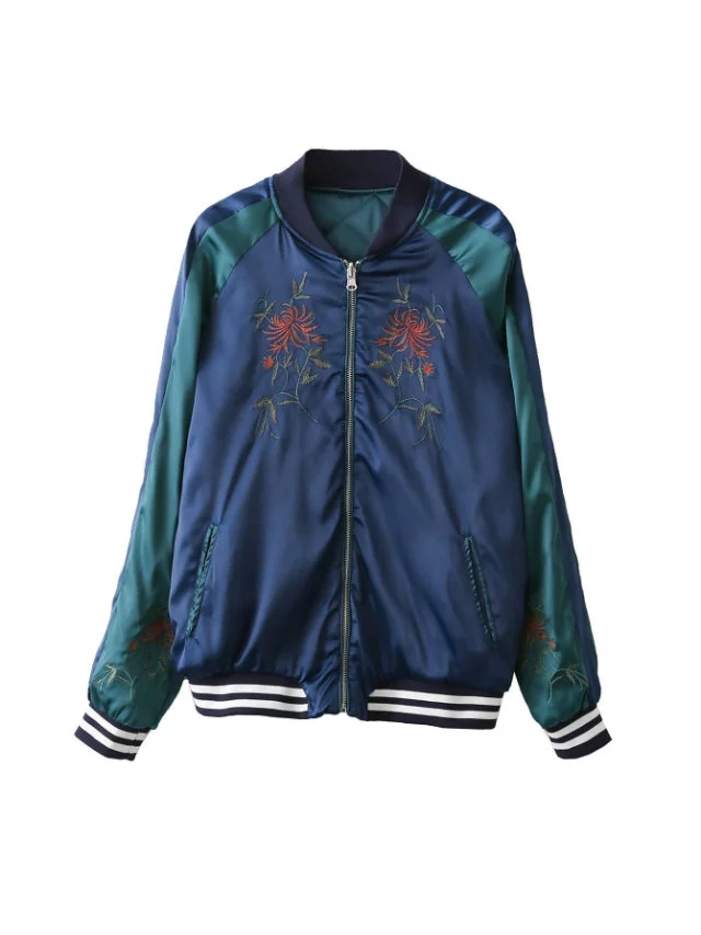 autumn 2016 new large size women's fashion wear on both sides all-match letters flower embroidery baseball uniform pilot jacket