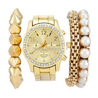 여성 시계 패션 럭셔리 여성 여성 제네바 다이아몬드 석영 골드 시계 + 팔찌 제네바 팔찌 시계 무료 시핑