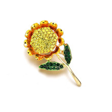 Fashion Enamel Yellow Crystal Sunflower Brooches For Women Men Alloy Flower Weddings Banquet Party Brooch Pin