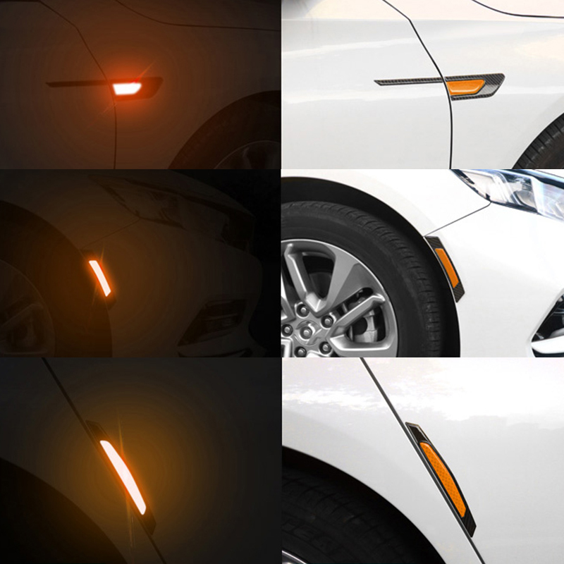 Car Reflector Sticker Warning Mark Car Exterior Accessories Rear Bumper Light Reflective White Safety Signs Strip Tape Stickers