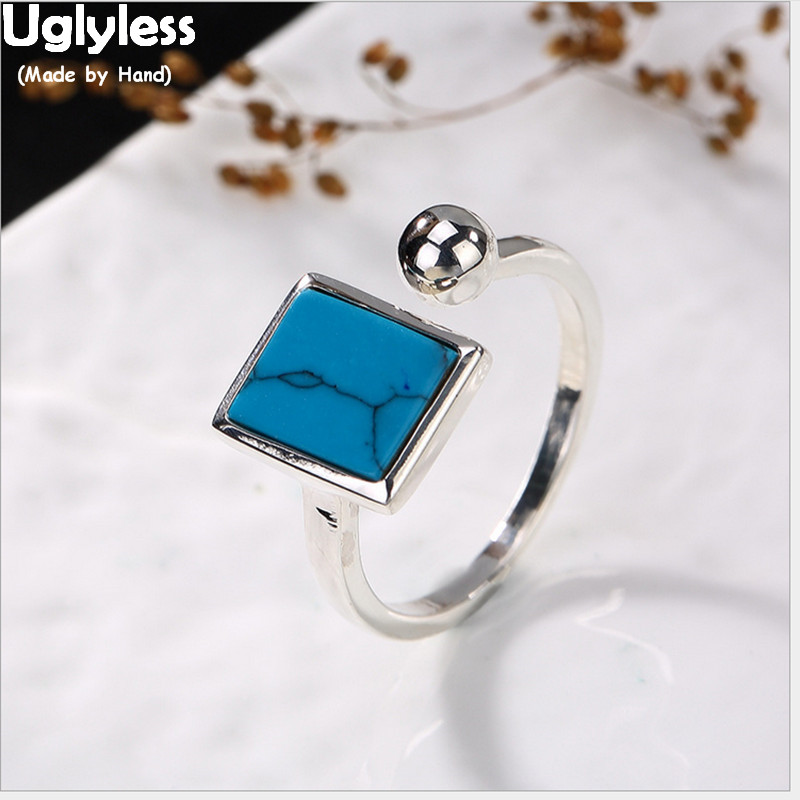 Uglyless S 925 Sterling Silver Natural Turquoise Square Opening Rings Retro Ethnic Women Bohemian Ring Simple Balls Fine Jewelry