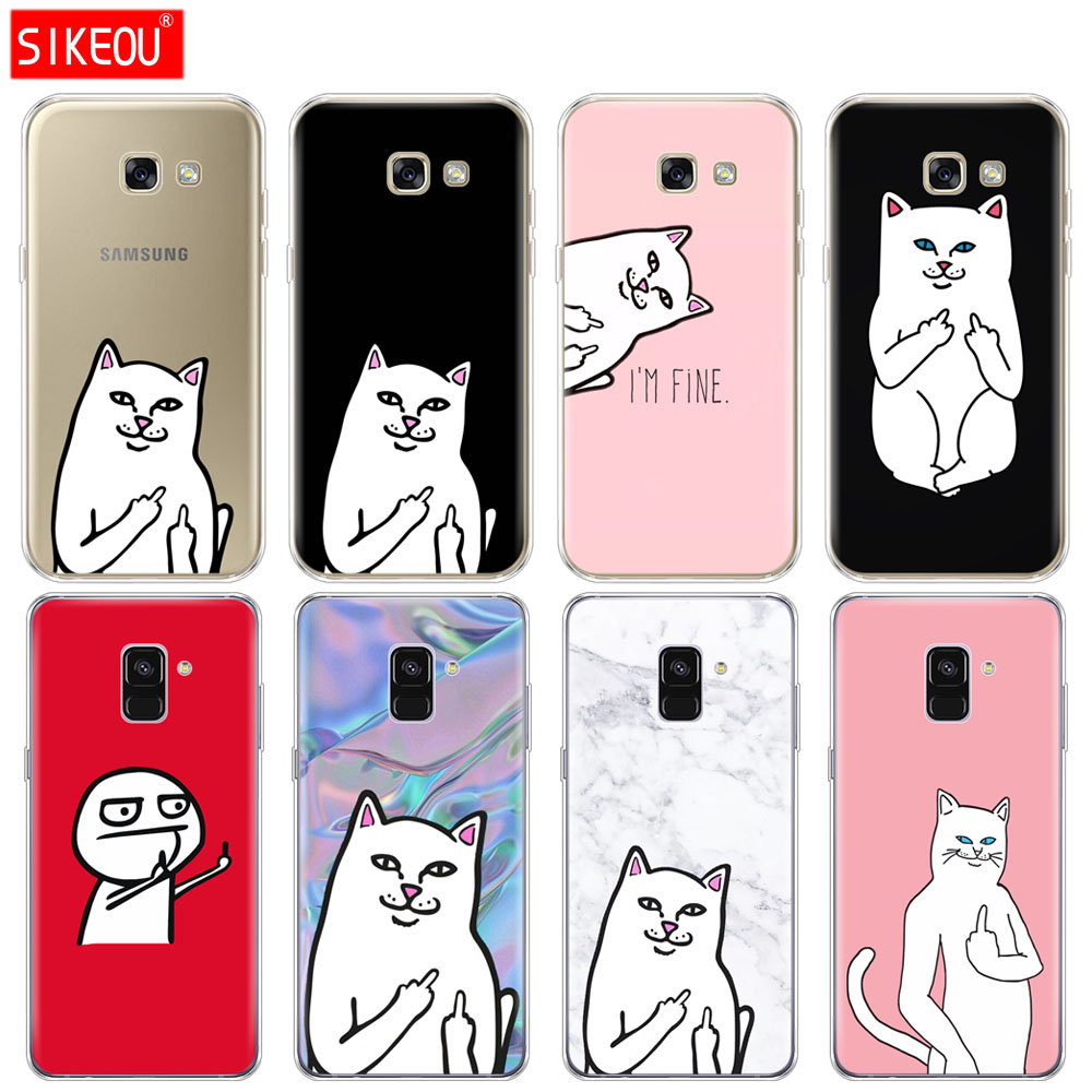 Silicone phone <font><b>case</b></font> cover for <font><b>Samsung</b></font> <font><b>Galaxy</b></font> A6 <font><b>A8</b></font> <font><b>2018</b></font> A3 A310 A5 A510 A7 2016 2017 soft tpu middle finger <font><b>cat</b></font> pattern coque image