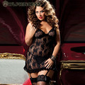 Z & KOZE 2016 New Sexy Roxo Do Laço Preto Transparente Pijamas Mulheres lingerie erótica Roupa Interior da Boneca Das Senhoras Plus Size 6XL