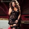 Z & KOZE 2016 Nueva Sexy Negro Púrpura Del Cordón Transparente ropa de Dormir de Las Mujeres lencería erótica Señoras Ropa Interior de La Muñeca Más Tamaño 6XL