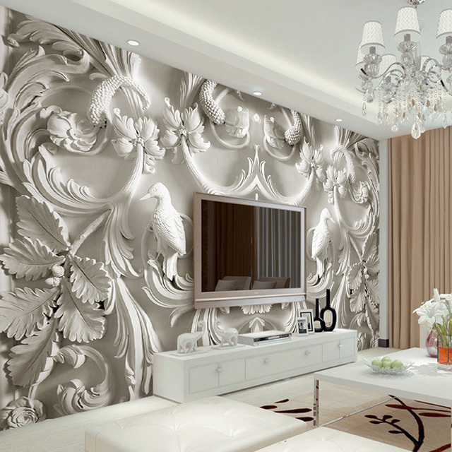 Custom any size mural wallpaper white classic european for What size tv do i need for a 12x15 room