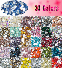 400pcs 40colors Mix Sizes Nail Art Non HotFix Crystal Rhinestone DIY Flatback 3D Glass Non Hot