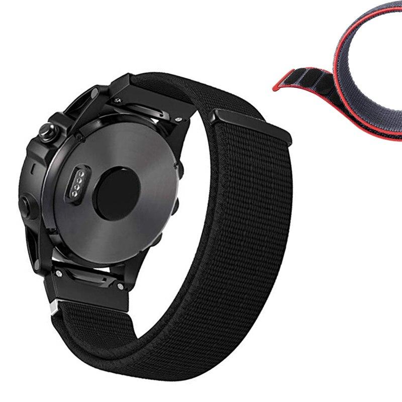 Suave ligero ajuste rápido 22 26mm Nylon cierre correa de reloj para Garmin Fenix 5X3 3HR 5/Quatix 5/935 pulsera 10 metros/lote de alambre de silicona suave especial de alta temperatura 10 12 14 16 18 20 22 24 26 AWG (5m rojo y 5m negro) color
