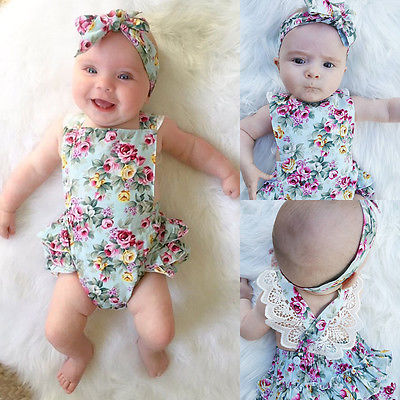 Summer Newborn Kids Baby Girl   Romper   Clothes Floral printed Outfits Set Lace sleeveless Jumpsuit   Romper  +Headband Playsuit 0-24M