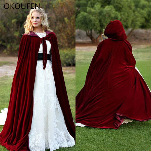 Velvet Wedding Jackets Vintage Cloak Capes Dark Red Women Long Bridal Coat Cap Chaqueta Wedding Accessories Retro