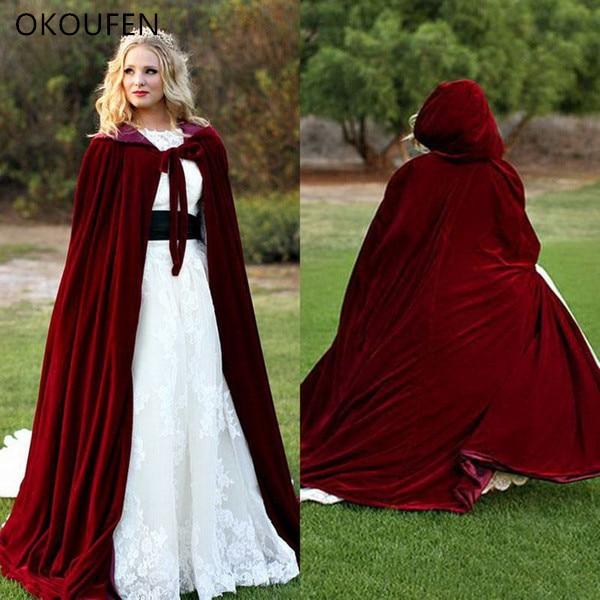Velvet Wedding Jackets Vintage Cloak Capes Dark Red Women Long Bridal Coat Cap Chaqueta Wedding Accessories Retro