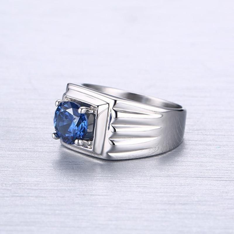 Kualitas perhiasan titanium cincin batu biru aaa + kubik cincin - Perhiasan fashion - Foto 2