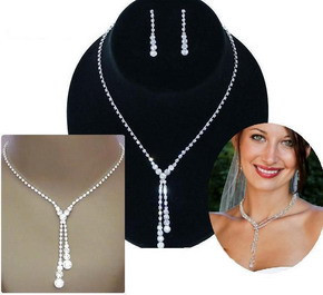Fashion Silver Tone Crystal Tennis Choker Necklace Set Earrings Factory Price Wedding Bridal Bridesmaid African Jewelry Sets 10