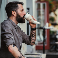 230ml Goat Story Mug Cup Horn Coffee Mug Stainless Steel Liner Vacuum Insula Vintage Coffee Cup Creative Send Hang Rope