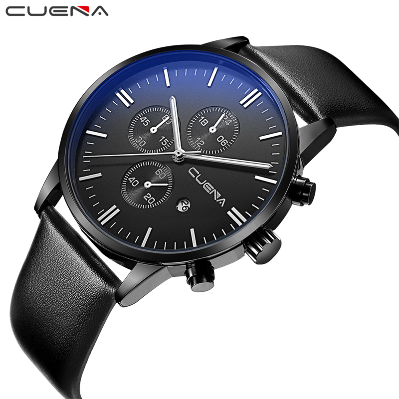 CUENA Men Quartz Watches Genuine Leather Calendar Fashion Brand Wristwatches 30M Waterproof Relogio Masculino Relojes Black 6619