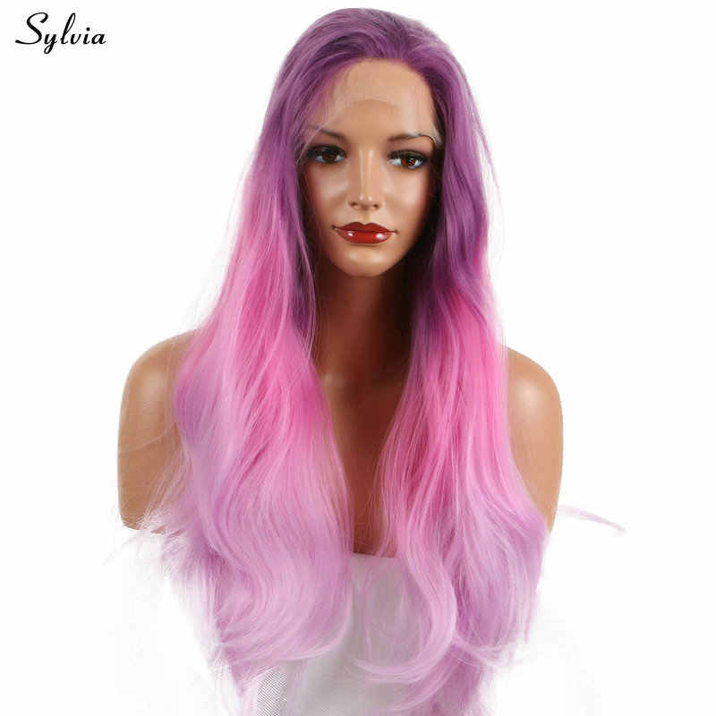 Sylvia Three Tone Dark Lilac Purple Ombre Pink To Pastel Lavender Heat Resistant Fiber Long Nature Wave Synthetic Lace Front Wig