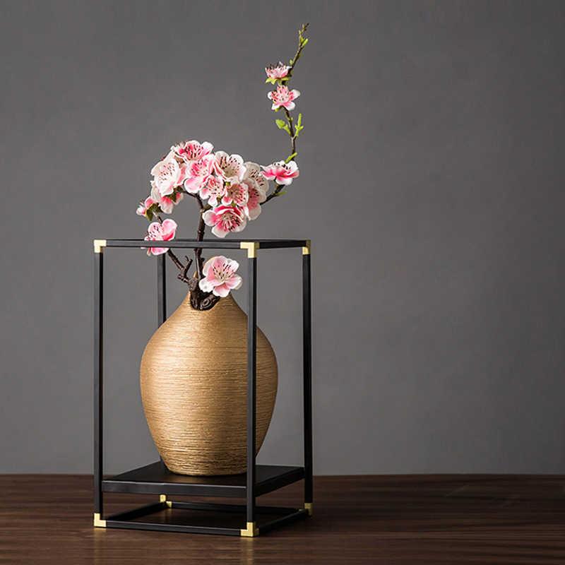 Vase à fleurs créatif Vase européen décoration Vase à la maison pour les fleurs Jarrones Decorativos support De fer moderne Floreros De Decoracion