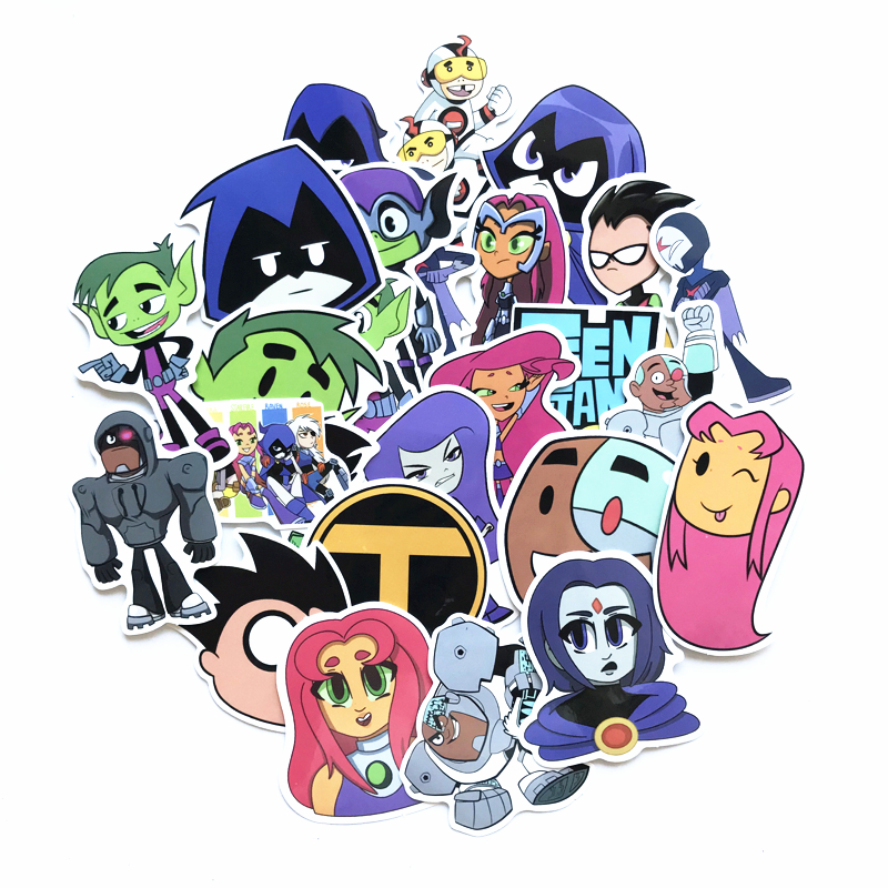 Image 2 - TD ZW 26Pcs/lot American Comic Teen Titans Go Stickers For Snowboard Laptop Luggage Car Fridge Car  Styling Sticker Pegatina-in Stickers from Toys & Hobbies