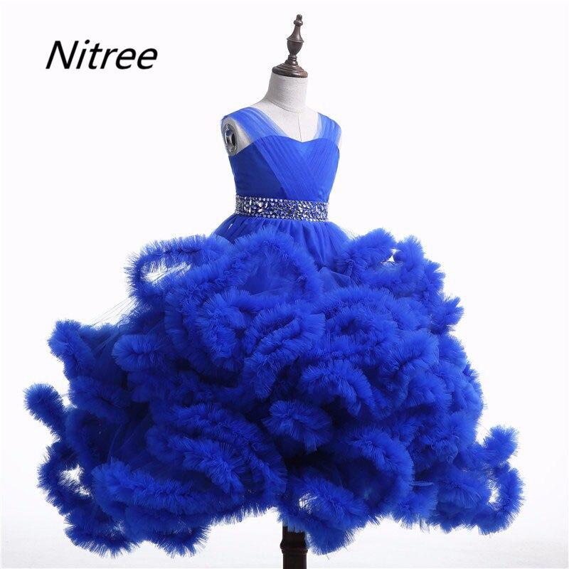 White Royal Blue Pink Burgundy Ball Gown Custom Made Flower Girls ...