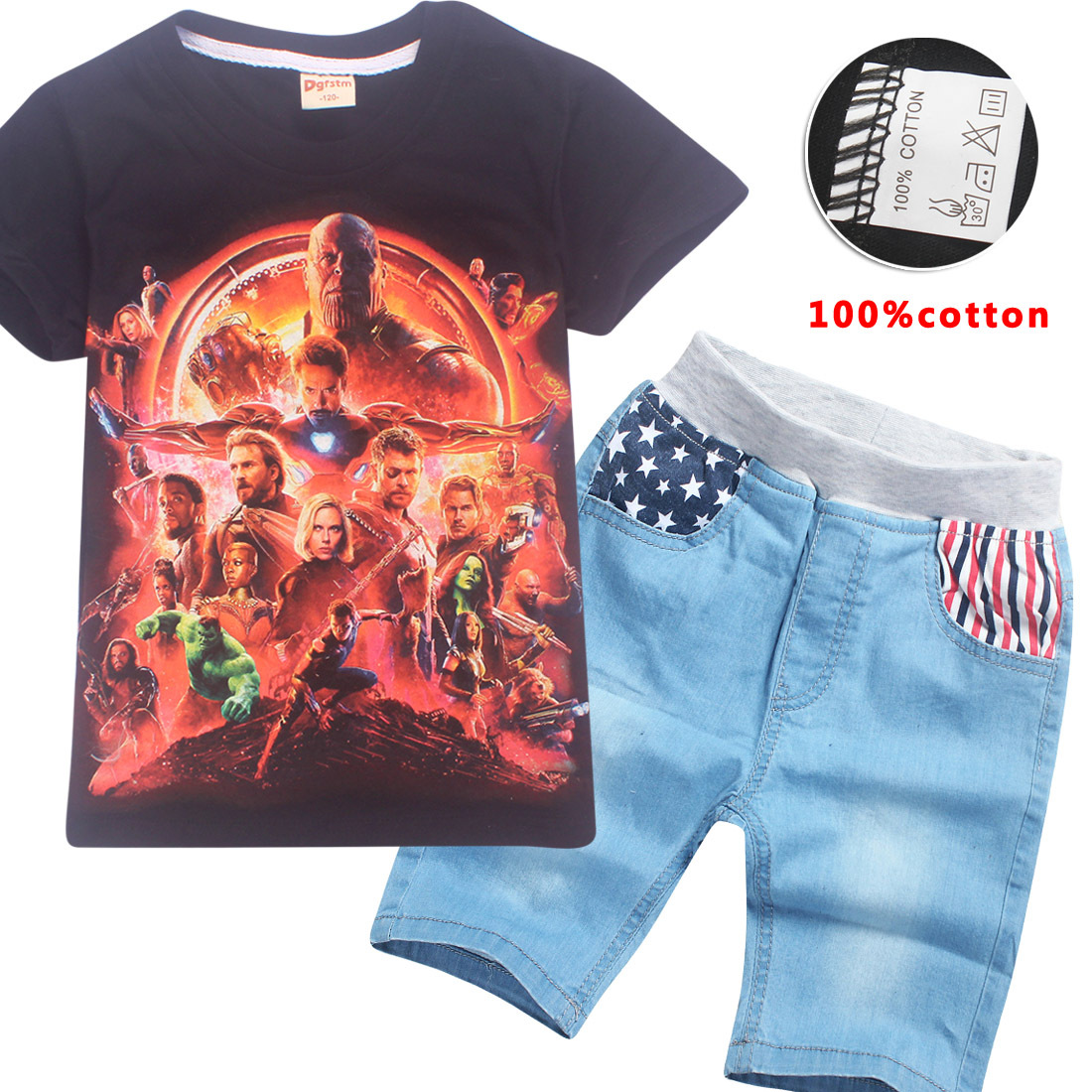 Z&Y 6-14Years Tiny Cottons 2018 Casual Children Clothing Set Fashion T Shirt and Shorts Jeans Summer Outfit Teenager Clothes