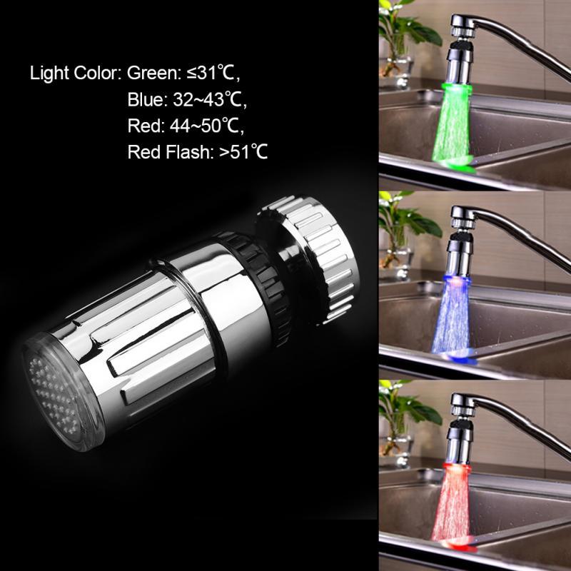 Новый ABS гальванических 360 Dgree поворотный воды питание 3 Цвета светодиодный свет Кухня мойка кран спрей глава опрыскиватель