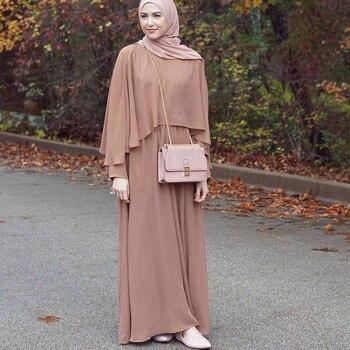 0ee26acd3 Vestidos árabes 2019 largo UAE Dubai Abaya Kaftan Kimono Lino Maxi musulmán  chal Bodycon Hijab vestido mujeres turco ropa islámica
