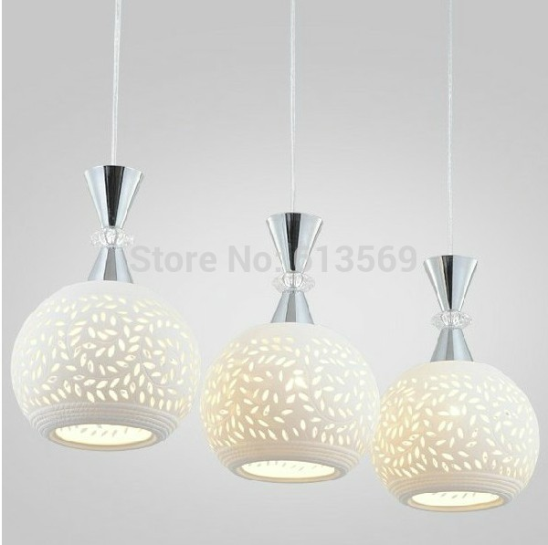 Kingart Modern Fashion Brief Three Heads E27 Through Carved Pendant Lights  Spherical White Ceramic Lamp