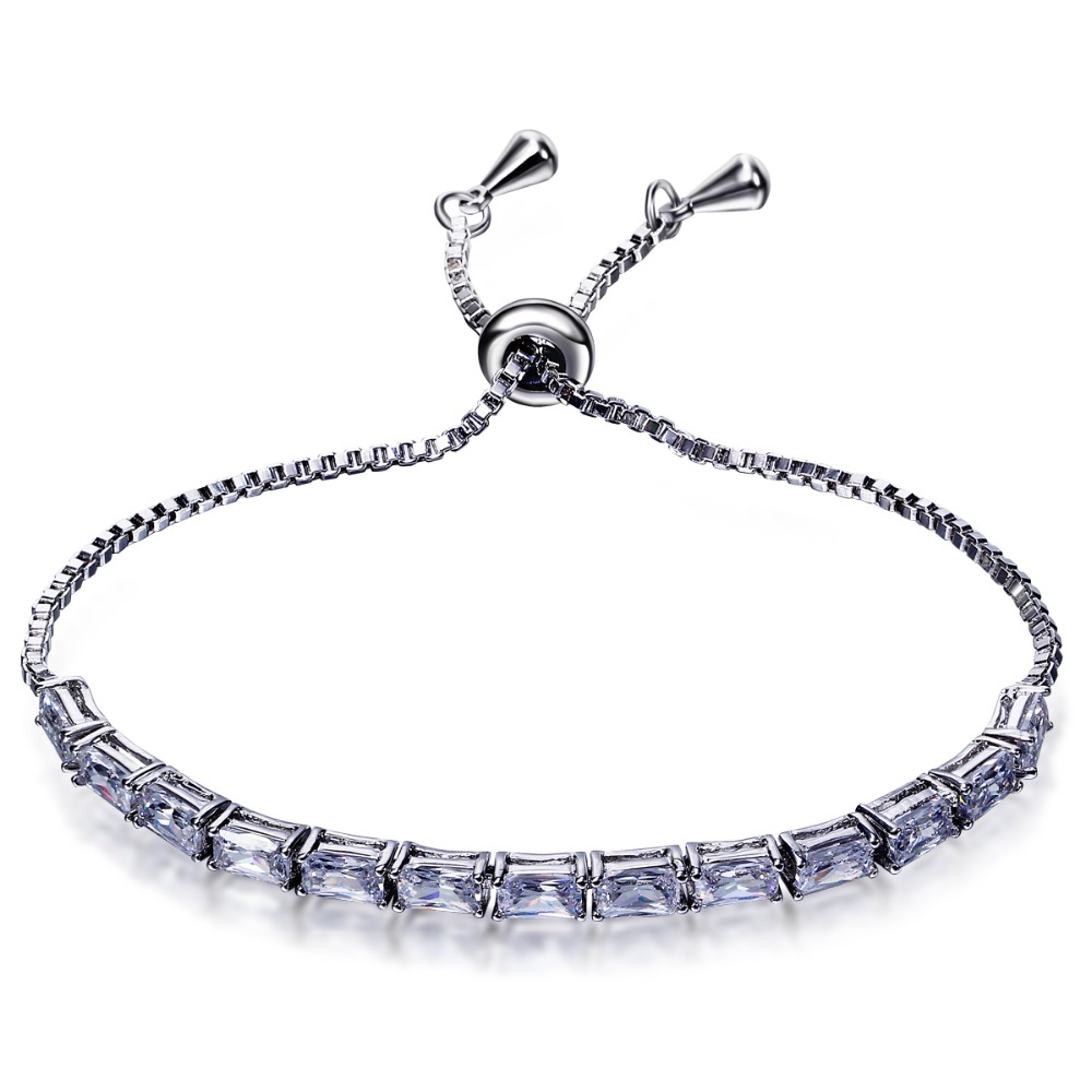 Summer Style Special occasion Rectangle CZ Crystal Fine design Rhodium color Square Clear White Tennis Bracelet for women
