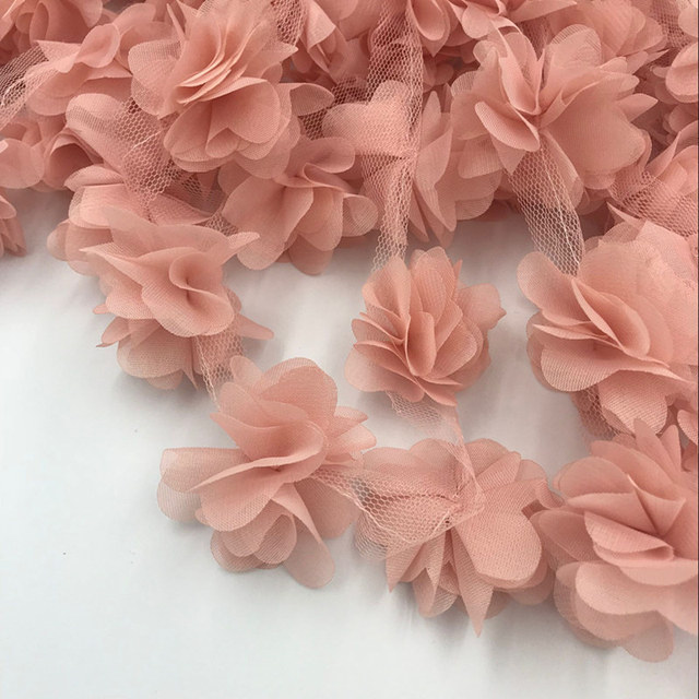 bf20897f5e8c3 US $1.32 5% OFF|24pcs flowers 3D Chiffon Cluster Flowers Lace Dress  Decoration Lace Fabric Applique Trimming Sewing Supplies-in Lace from Home  & ...