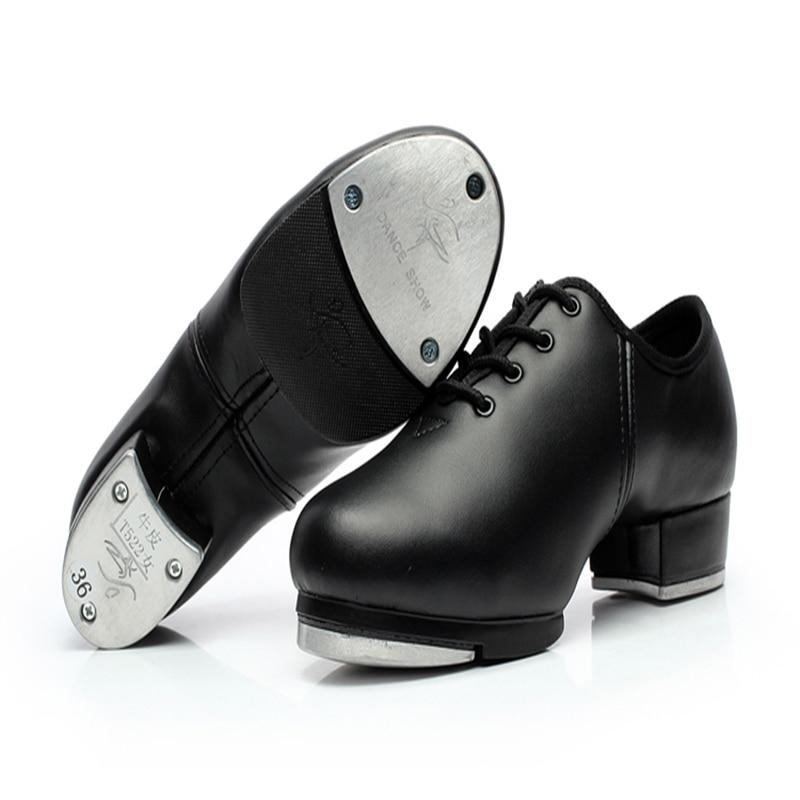 Férfi cipő cipők sport nők valódi bőr csap Dance cipő alumínium lemez hangos kopásálló csipke cipő fekete lány forró
