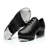 Sapatas dos homens Das Sapatilhas Dos Esportes Das Mulheres Tocar Sapatos De Dança de couro Genuíno placa de Alumínio Alto Desgaste-oposição Sapatos Lace-up pretos Da Menina Quente