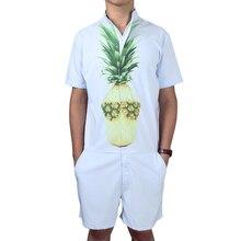 Short Sleeve Pineapple Print Men's Rompers