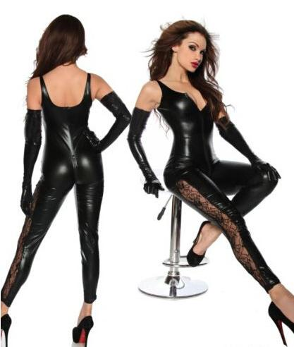 Vocole Sexy Wet Look PVC Deep V Jumpsuit Spaghetti Strap Lace Catsuit Clubwear Night Club Erotic Fetish Faux Leather Cat Women
