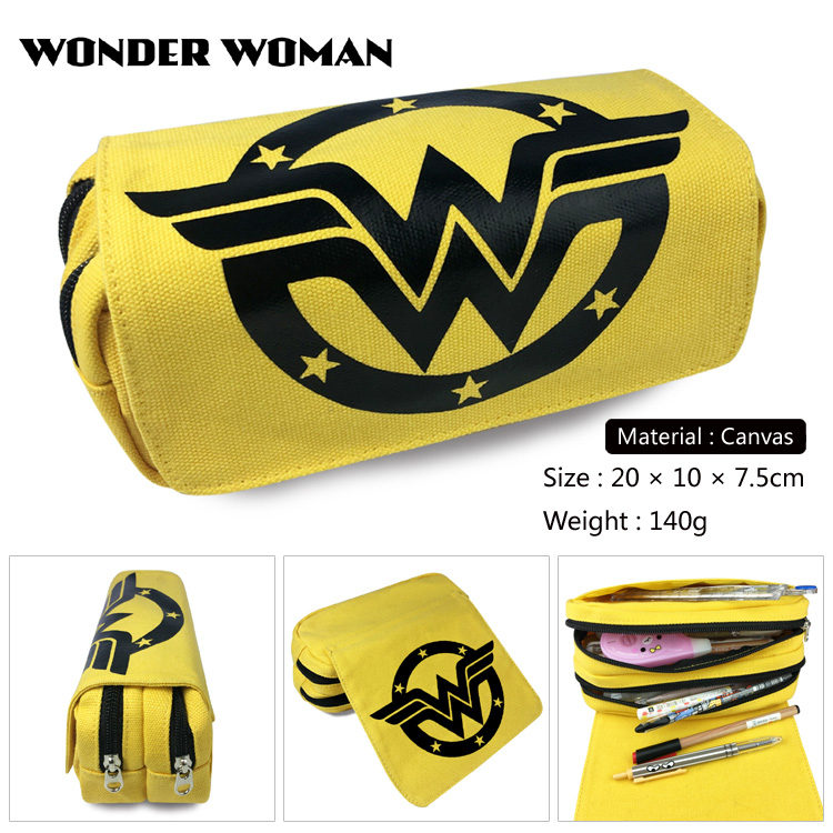 Anime Wonder Woman Cartoon Pencil Bag Student Printing Pouch Double Zipper Pen Case Women Handbags Cosmetic Makeubags Gift
