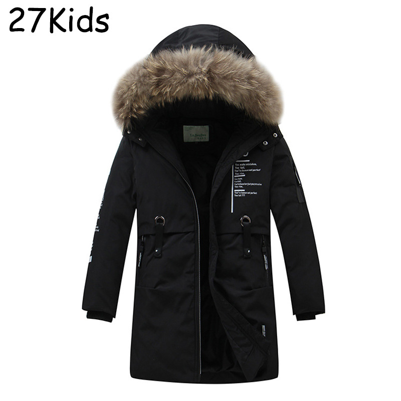 100% Natural Raccoon Fur Collar 2017 Winter Jacket Kids White Duck Down Coats Long Thick Parkas Boys Winter Jackets And Coats duck down jacket for boys 2017 russia winter warm thick down parkas children casual fur hooded jackets coats 30 degrees