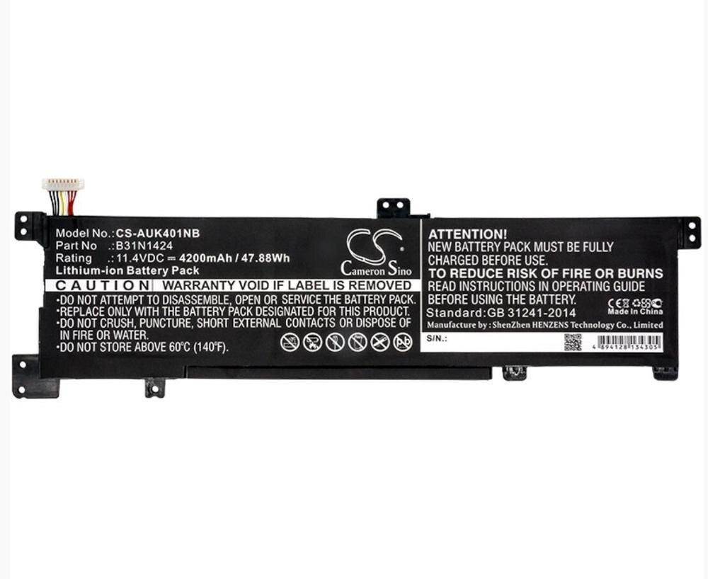 Cameron Sino 4200 mAh batterie pour ASUS A400U A401L K401 K401LB K401LB5010 5200 B31N1424 Portable, batterie d'ordinateur portable