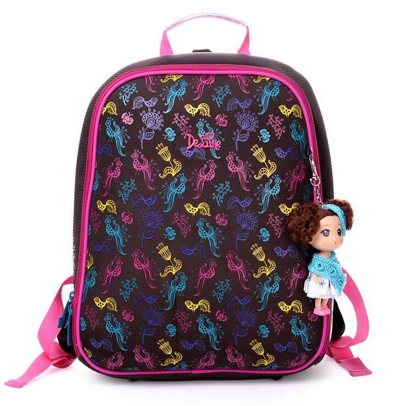Delune High Quality Orthopedic Waterproof Children Hard Shell School Bags Girls Primary 1-5 Grade School Backpack Kids Mochila