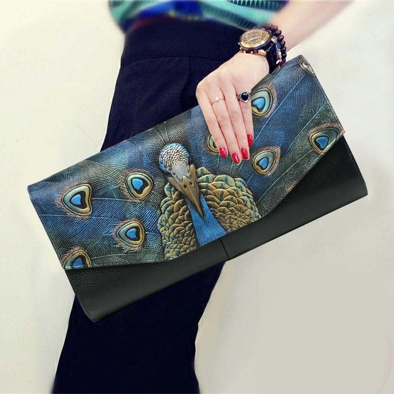 Vintage National Peacock Hand Bag Genuine Leather Women Wallet Lady Evening Clutches Envelope Shoulder Bag Wristlets Day Clutch chinese style vintage embossing genuine leather hand clutch bag celebrity day clutches women shoulder bag purse wallet phone bag