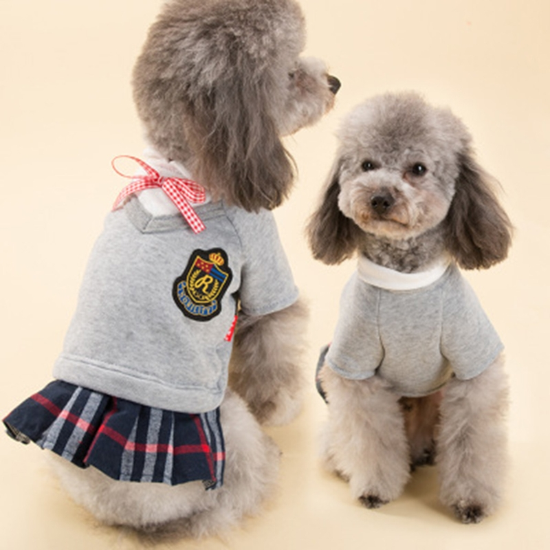 School Style Small Pet Dog Spring Clothes Cute Cat Clothing Dress Puppy Coat
