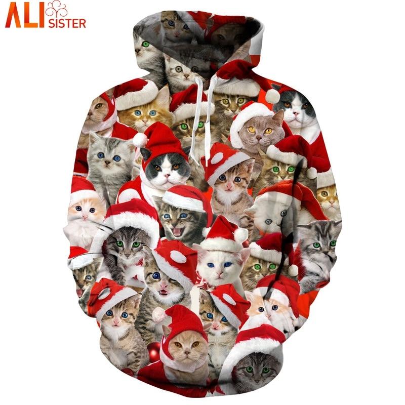 Cute Kitten Cats Christmas Hoodies Sweatshirt Men Unisex Hoody Tops Pullover Tracksuit