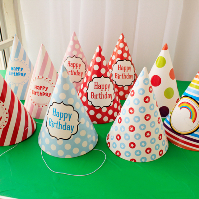 12pcs DIY Kids Pink Blue Polka Dot Colorful Paper Hat Birthday Cap