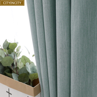 CITYINCITY Solid Blackout Curtain For Living room Home Decor Drape soft Faux linen Curtains Bedroom high shading rate Rideaux