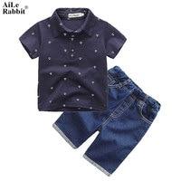 2015 Boys Clothes Suit Gentleman Autumn Long Sleeved Striped Shirt Strap Jeans 2pcs Set Baby Kids